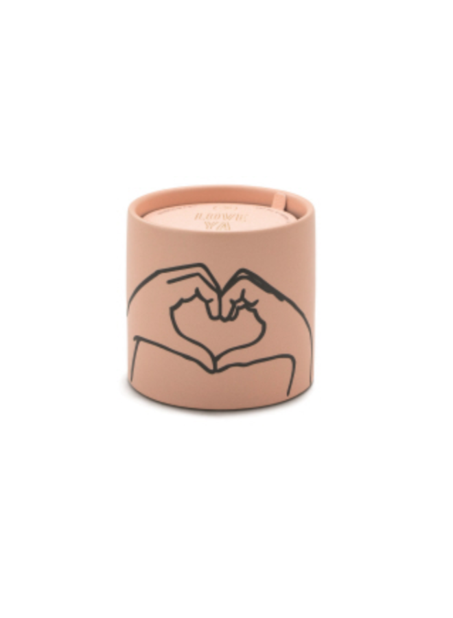 5.75oz Impressions Pink Ceramic with Heart Candle- Tobacco & Vanilla