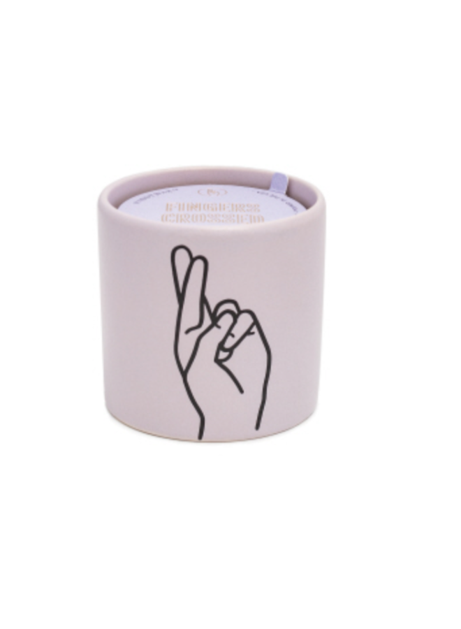 5.75oz Heart Impressions Candle Lavender Ceramic- Fingers Crossed Wisteria + Willow