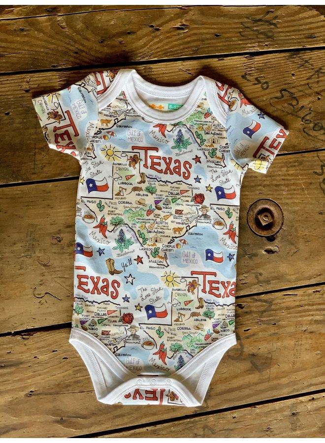 Texas Map Baby Onesie