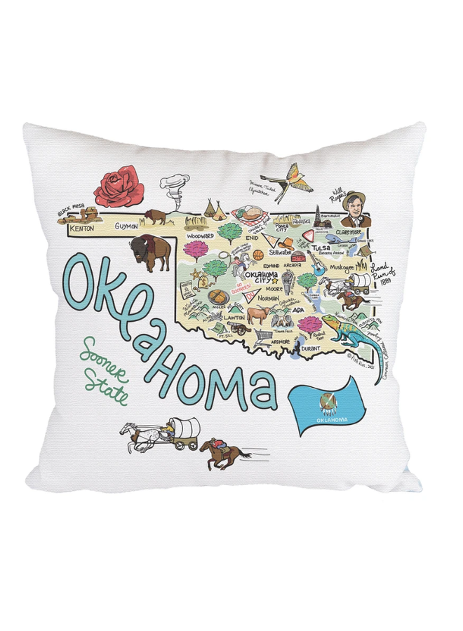 Oklahoma Map Pillow