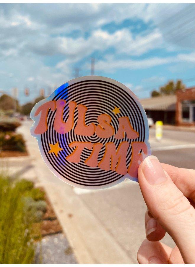 Holographic Tulsa Time Sticker