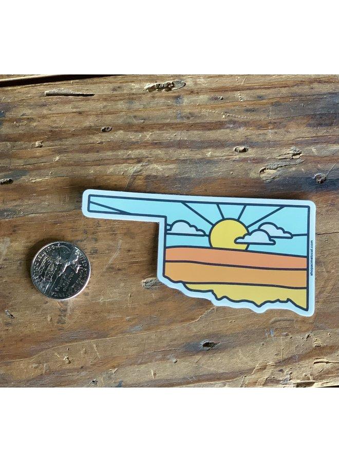 Oklahoma Sunrise State Outline Sticker