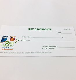 Owls Hollow Gift Certificate for $25