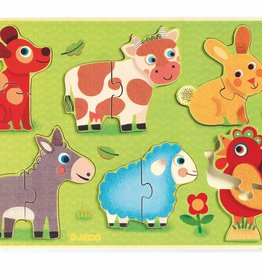 Wooden Farm 2pc Puzzles by Djeco