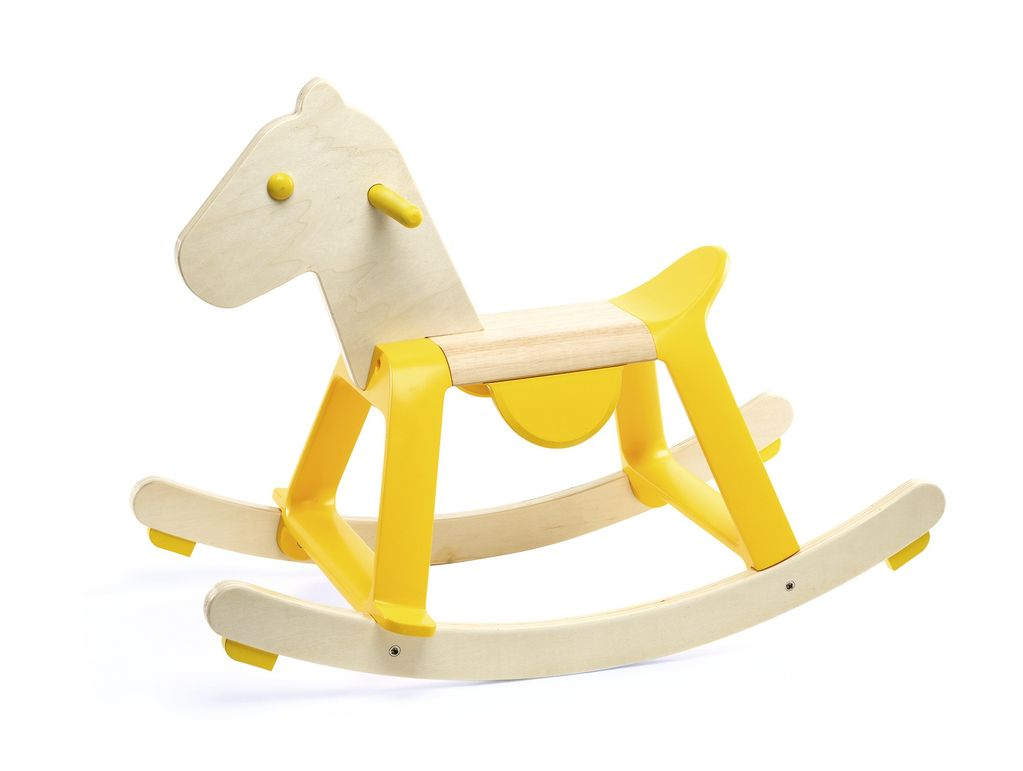 Yellow Rock'it Wooden Rocking Horse