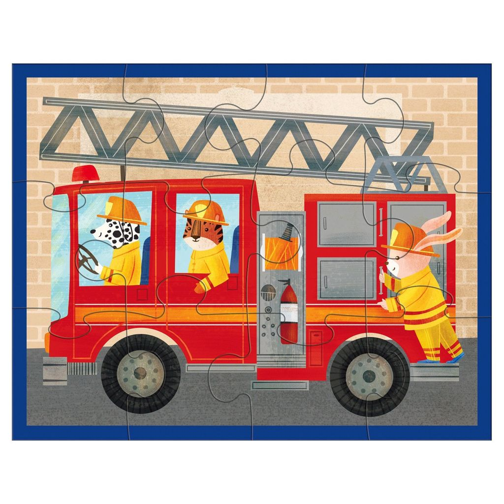 12 piece Pouch Puzzle of a Fire Engine Ladder Truck