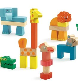 Creanimaux Wooden Animal Stacking Blocks by Djeco