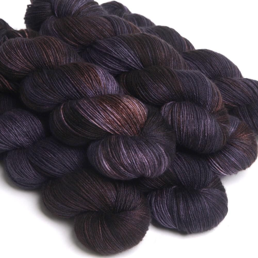 Hedgehog Fibres Hand Dyed Yarns Skinny Singles, Raven