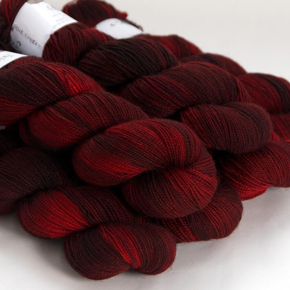 Hedgehog Fibres Hand Dyed Yarns Skinny Singles, Sour Cherry