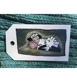 Knit Baah Purl Gift Tag - Pack of 10, Dozing Pink Sheep