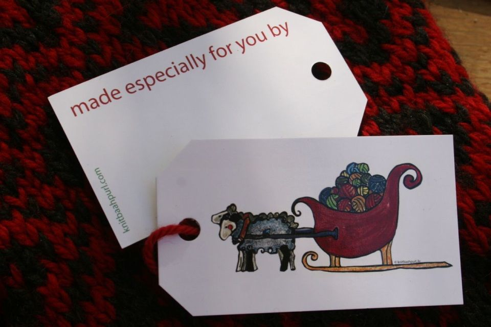 Knit Baah Purl Gift Tag - Pack of 10, Sheep Sleigh