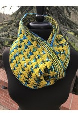 For Yarn's Sake, LLC Deepest Water Cowl Kit: Golden Delicious and Crater Lake Yarn plus pattern