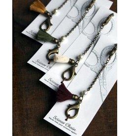 Tassled Scissor Chain, Olive