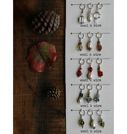 Fall Stitch Markers, Clear Crystal