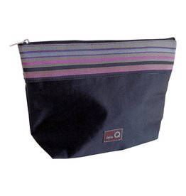 della Q Zip Pouch - Large, Black Stripe