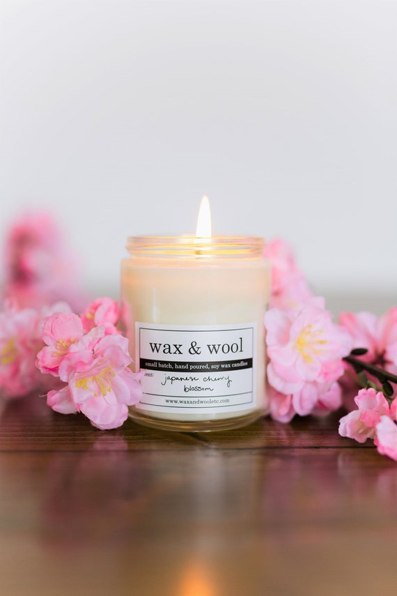 Pure Soy Wax Candle: Japanese Cherry Blossom In Mason Jar