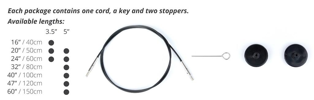 Lykke Lykke Interchangeable Needle Cord - For 3.5-inch Tips, 20-inch