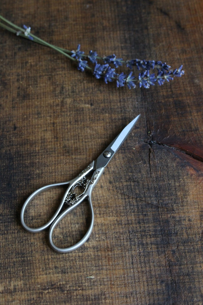 Floral Teardrop Scissors in Silver