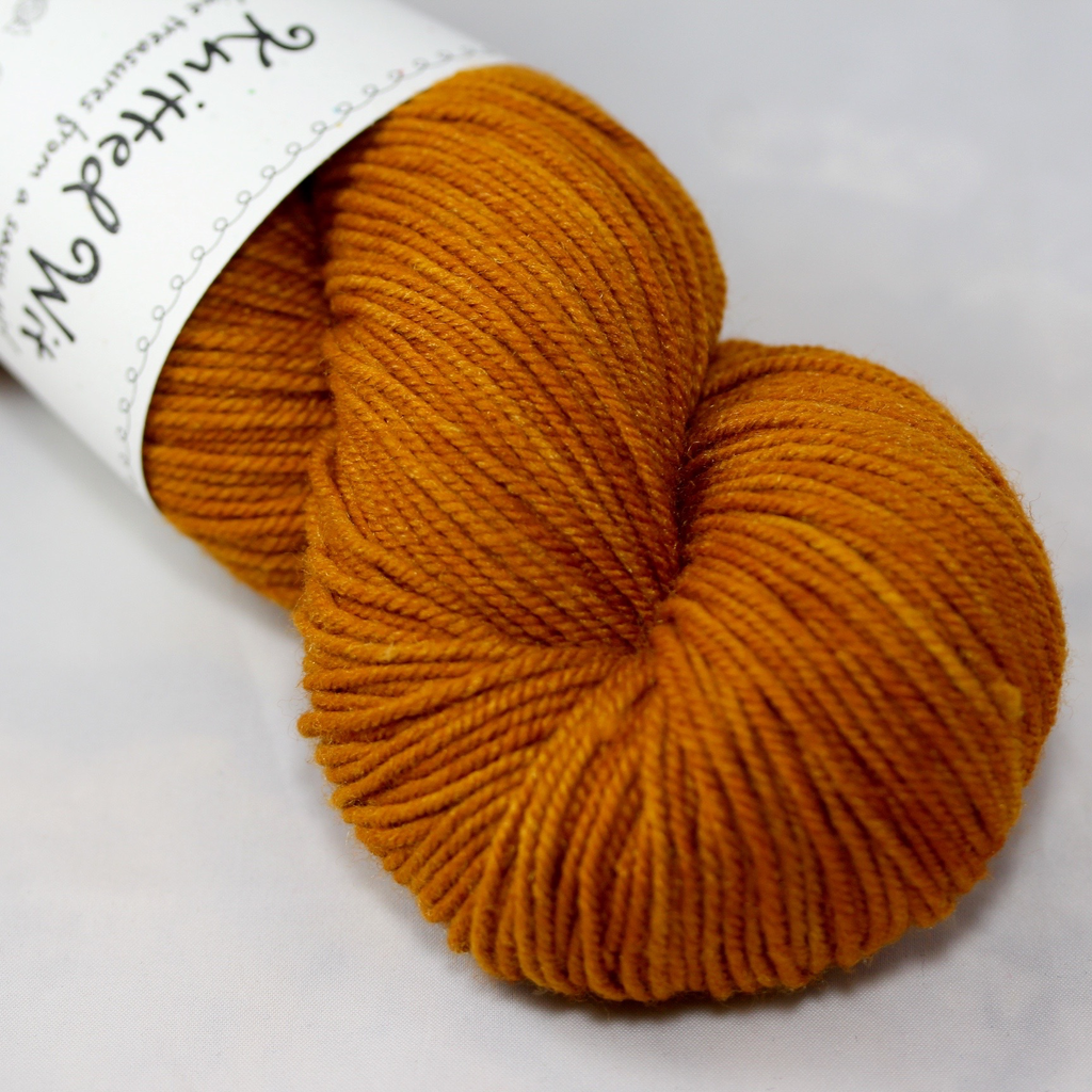 Knitted Wit Targhee Shimmer Worsted, Tupelo Honey (Discontinued)