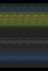 Noro Silk Garden Sock, Black, Lime, Blue color 252 (Discontinued)