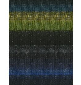 Noro Silk Garden Sock, Black, Lime, Blue color 252 (Discontinued)