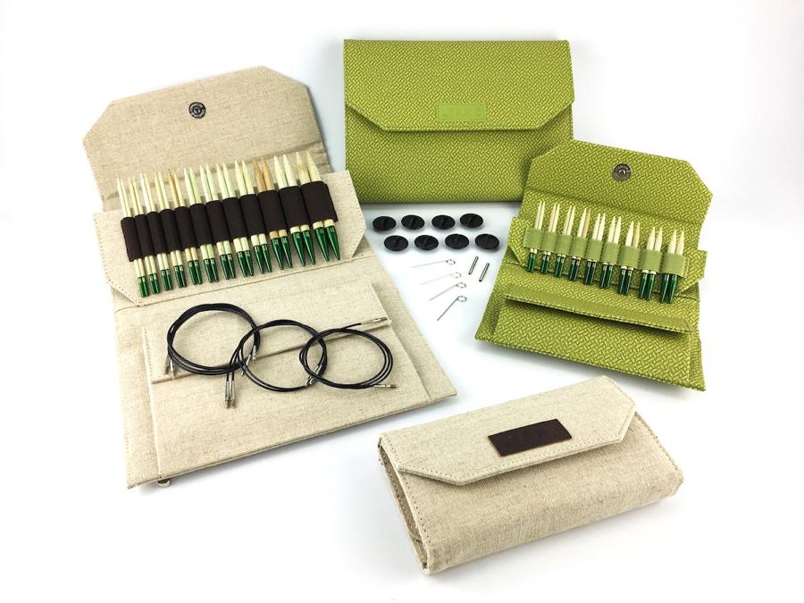 """Lykke Lykke Grove Bamboo 3.5"""" Interchangeable Needle Set, Beige Jute Case"""