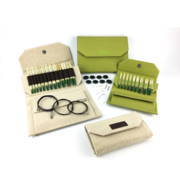 "Lykke Lykke Grove Bamboo 3.5"" Interchangeable Needle Set, Green Basketweave Case"