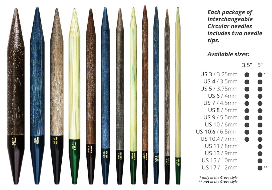 """Lykke Grove Bamboo 3.5"""" Interchangeable Needle Tips, US 10 (6mm)"""