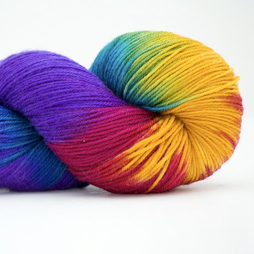 Abstract Fiber Silky Sock, Chocolate Rainbow