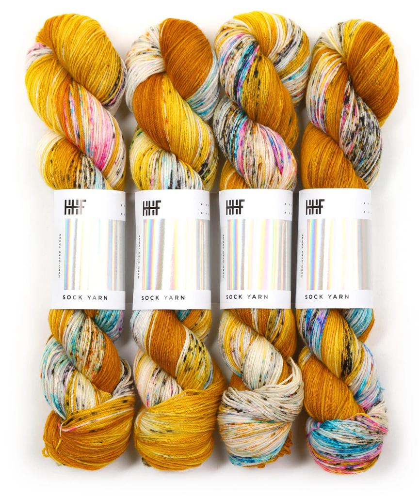 Hedgehog Fibres Hand Dyed Yarns Sock Minis, Fool's Gold