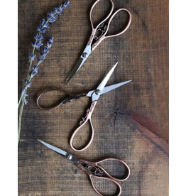 Floral Teardrop Scissors in Copper