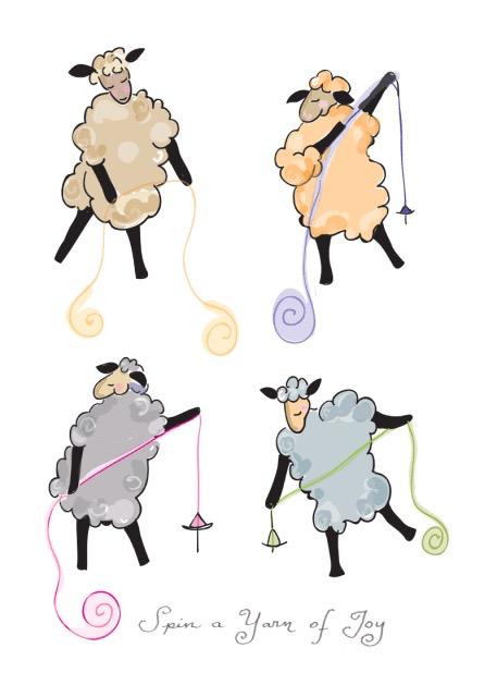 Knit Baah Purl Single Card, Spin a Yarn of Joy