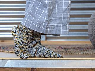 Knitted Wit The ShannaJean Club, August 2020. Take A Break Socks - Grellow Colorway
