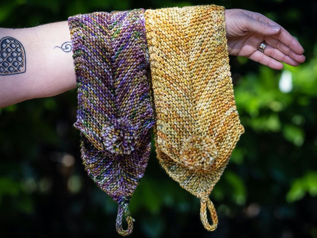 Knitted Wit The ShannaJean Club, October 2020. A Little Something - Squad Gourds Colorway
