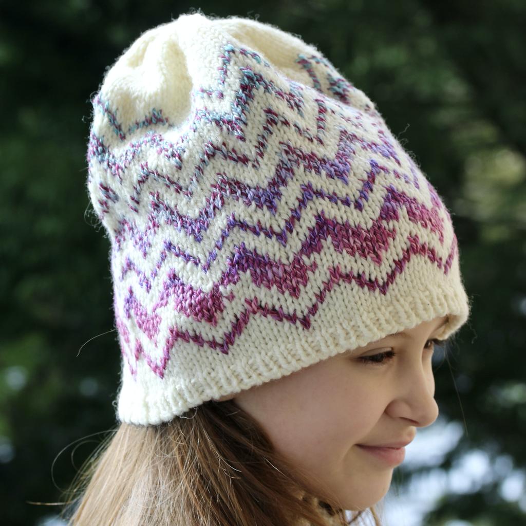 For Yarn's Sake, LLC Springfield Chevron Hat Kit, Storm Cloud