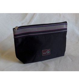 della Q Zip Pouch - Small, Black Stripe