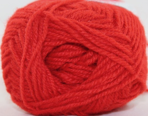 Rauma Designs Strikkegarn 3ply, Color 124 (Bright Red)