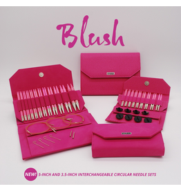 Lykke Lykke Short Interchangeable Blush Needle Set, Fuschia Denim Effect Case