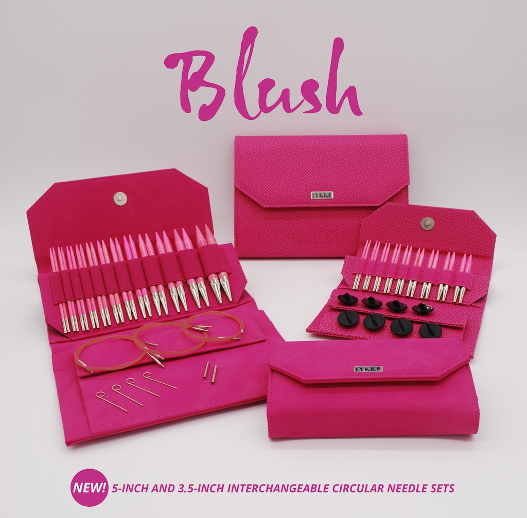 Lykke Lykke Short Interchangeable Blush Needle Set, Magenta Basketweave Effect Case
