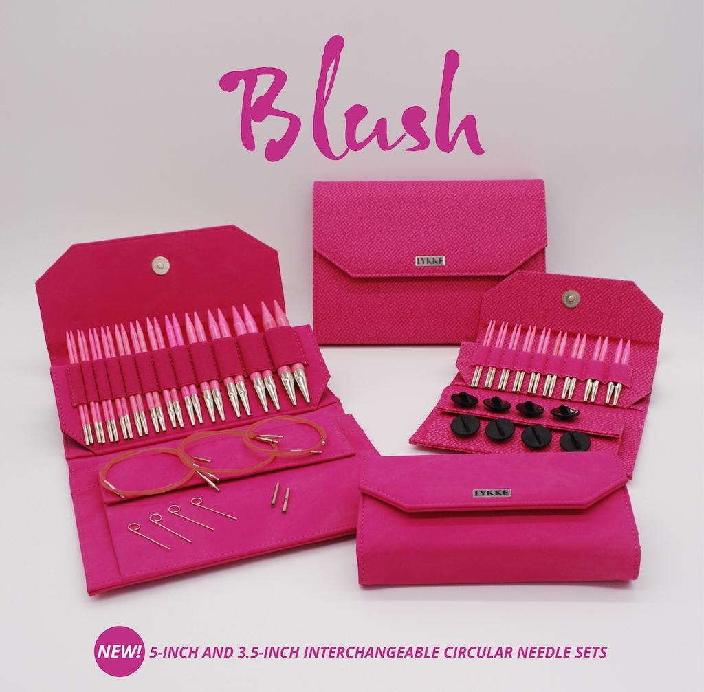 """Lykke Lykke Blush 5"""" Interchangeable Needle Set, Fuschia Denim Effect Case"""