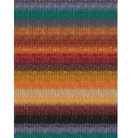 Noro Silk Garden Sock, Desert Oranges, Green Color 421