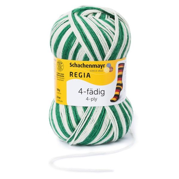 Schachenmayr Regia 4-ply, Green & White, Color 5389