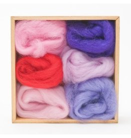 Corriedale Wool Roving Set, Fuschia colors