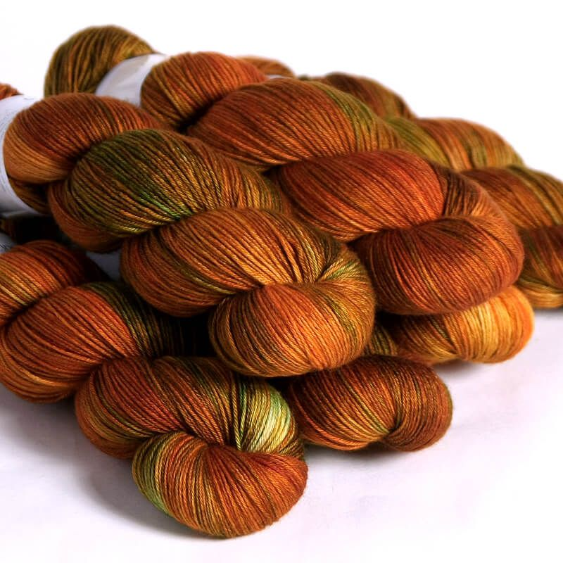 Hedgehog Fibres Hand Dyed Yarns Skinny Singles, Copper Penny