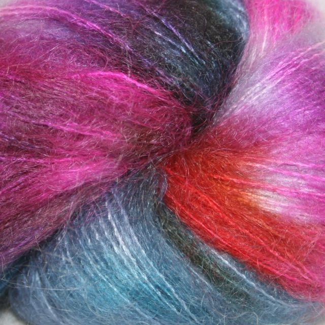 Hedgehog Fibres Hand Dyed Yarns Kidsilk Lace, Dragonfly