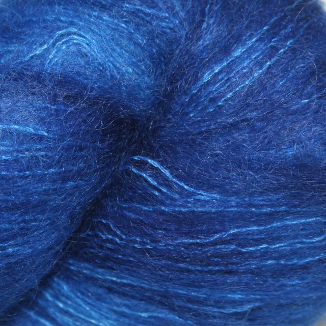 Hedgehog Fibres Hand Dyed Yarns Kidsilk Lace, Electric