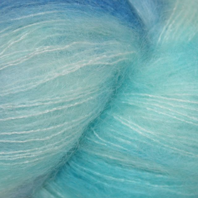 Hedgehog Fibres Hand Dyed Yarns Kidsilk Lace, Glacier