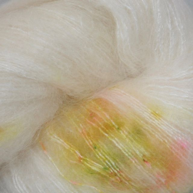 Hedgehog Fibres Hand Dyed Yarns Kidsilk Lace, Seed