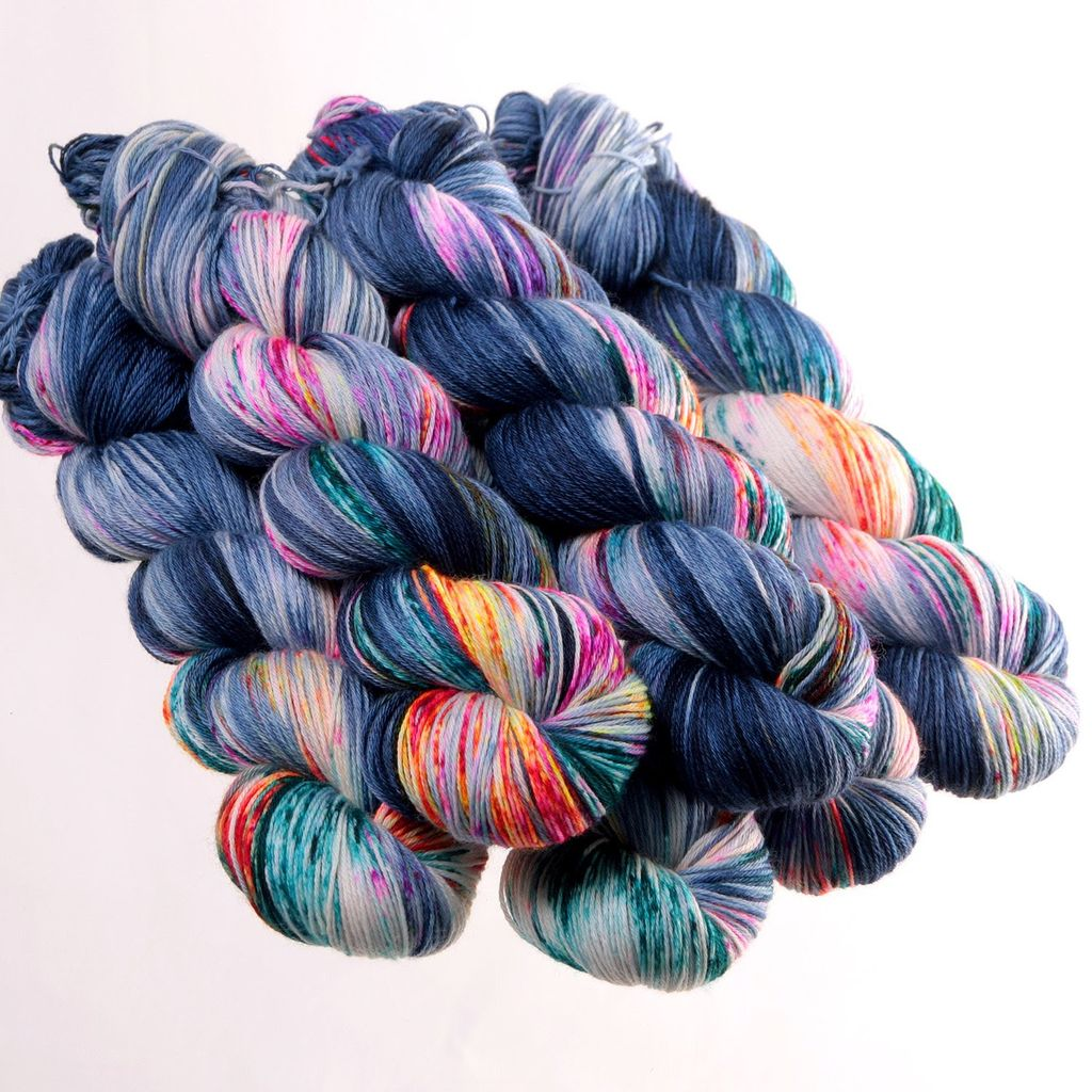 Hedgehog Fibres Hand Dyed Yarns Sock Yarn, Firefly (Formerly Kimono)