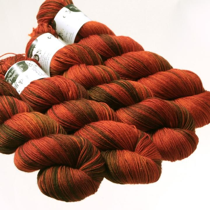 Hedgehog Fibres Hand Dyed Yarns Sock Yarn, Copper Penny